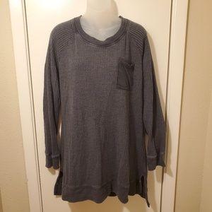 Soft Surroundings Gray Waffle Knit Chunky Sweater